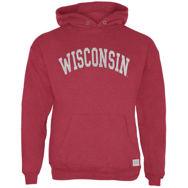 Wisconsin Badgers - Distressed Arch Logo Tri-Blend Adult Pullover Hoodie