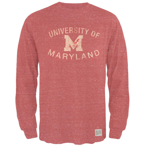 Maryland Terrapins - Distressed Logo Tri-Blend Adult Long Sleeve T-Shirt