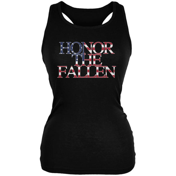 Honor the Fallen American Patriot Black Juniors Soft Tank Top