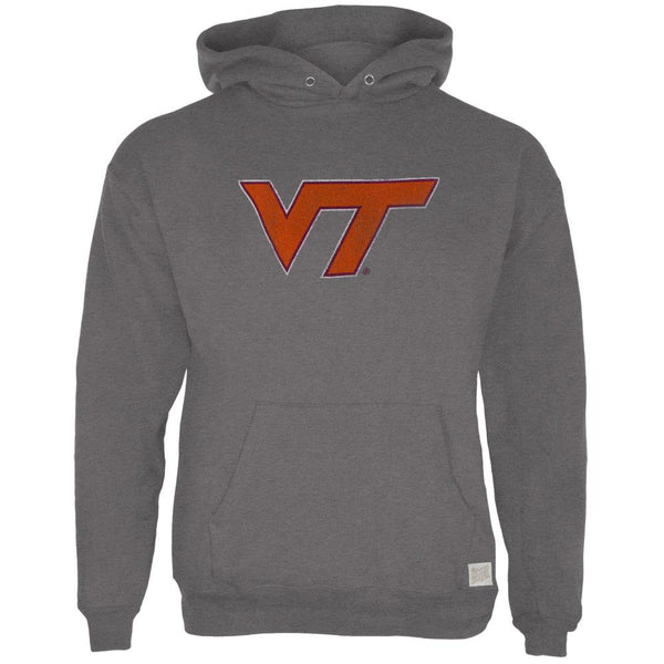 Virginia Tech Hokies - Distressed VT Logo Tri-Blend Adult Pullover Hoodie