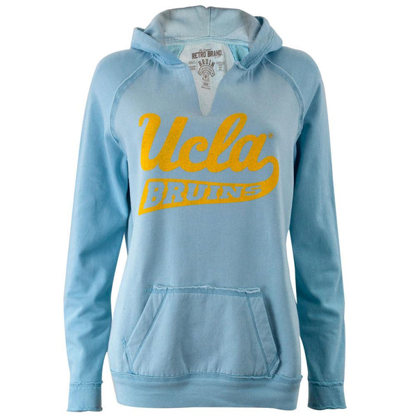 UCLA Bruins - Distressed Swoosh Logo Juniors Relaxed Slit-Neck Hoodie