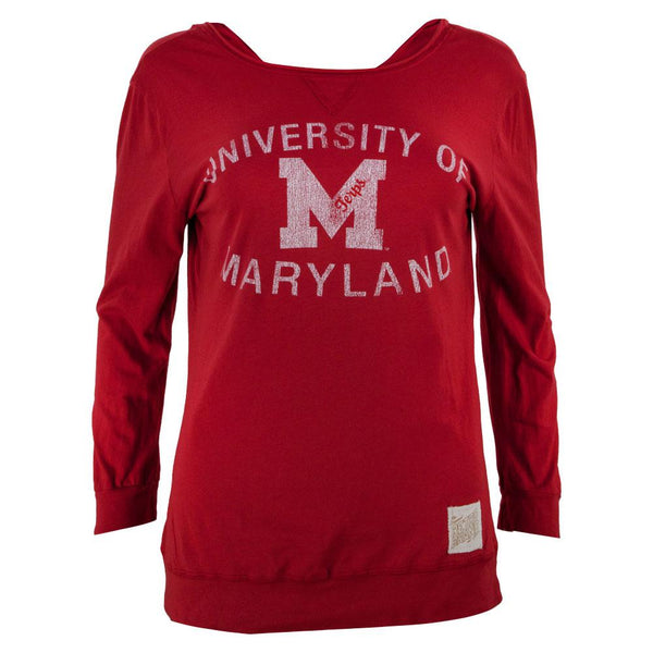 Maryland Terrapins - Distressed Logo Juniors 3/4 Sleeve Raglan