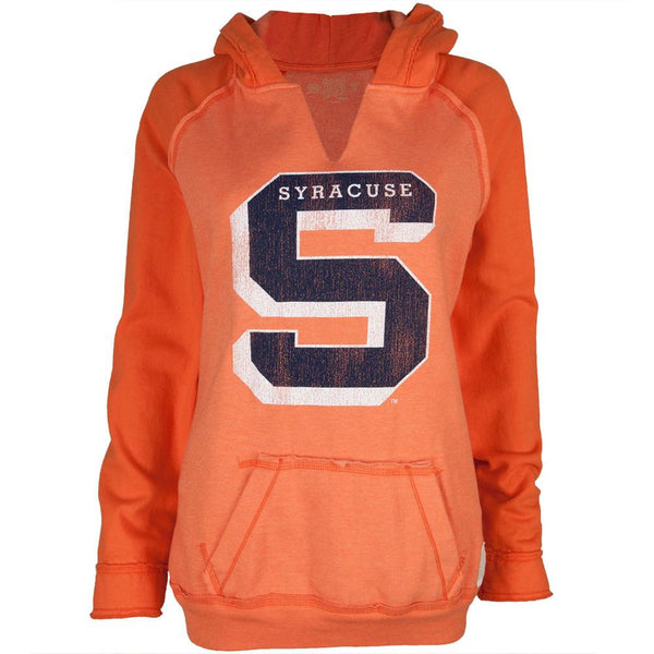 Syracuse Orange - Distressed S Logo Juniors Relaxed Slit-Neck Hoodie