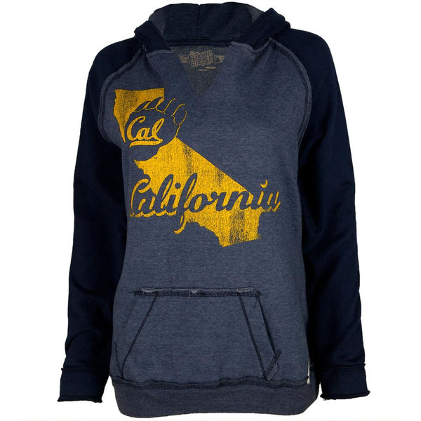 California Bears - Distressed State Juniors Relaxed Slit-Neck Hoodie