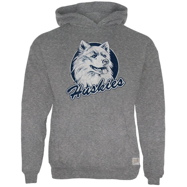 UConn Huskies - Distressed Circle Husky Tri-Blend Adult Pullover Hoodie