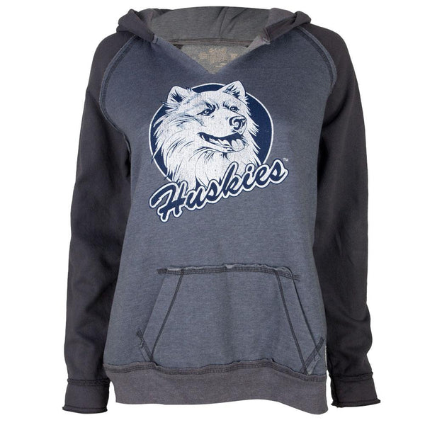 UConn Huskies - Distressed Circle Husky Juniors Relaxed Slit-Neck Hoodie