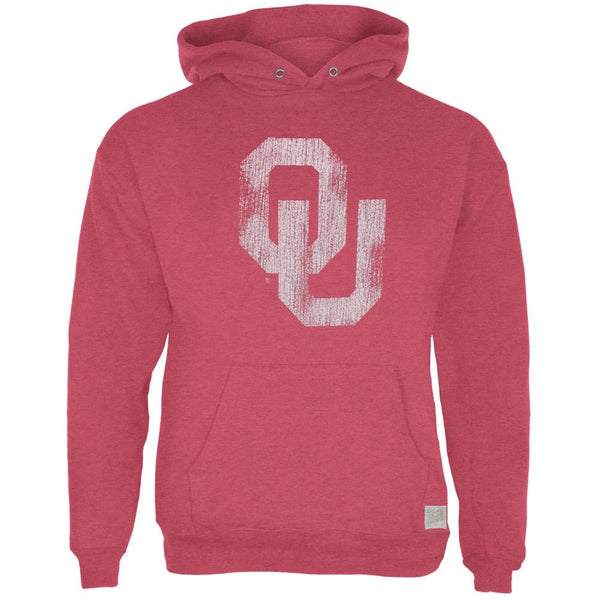 Oklahoma Sooners - Distressed OU Logo Tri-Blend Adult Pullover Hoodie