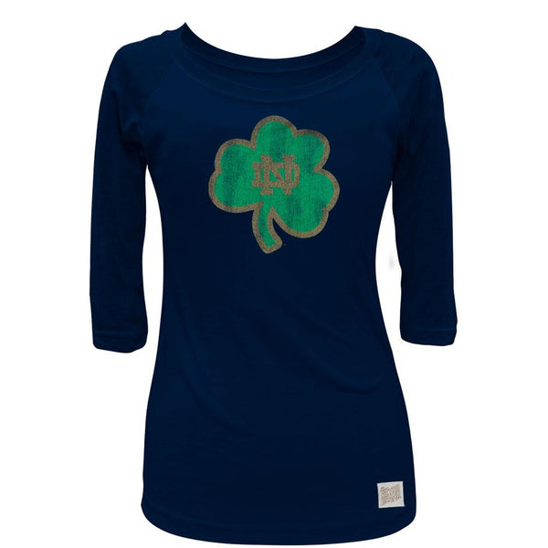 Notre Dame Fighting Irish - Distressed ND Shamrock Juniors 3/4 Sleeve Raglan