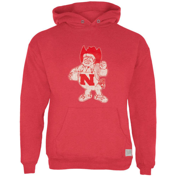 Nebraska Cornhuskers - Distressed Mascout Tri-Blend Adult Pullover Hoodie