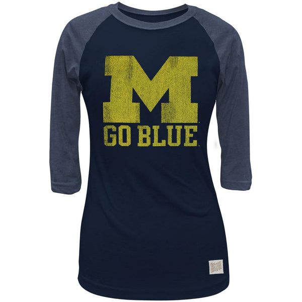 Michigan Wolverines - Go Blue Juniors 3/4 Sleeve Raglan