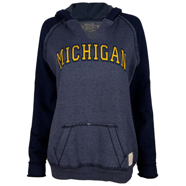 Michigan Wolverines - Arched Letters Juniors Relaxed Slit-Neck Hoodie