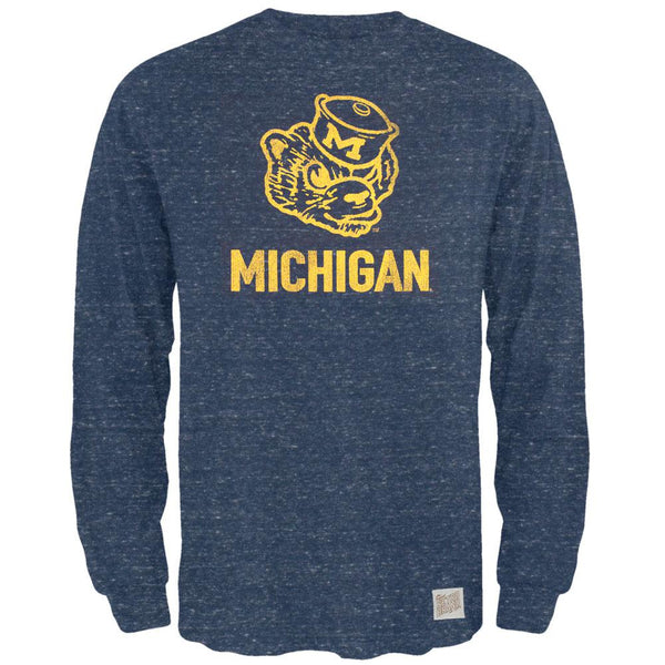 Michigan Wolverines - Mascot Drawing Tri-Blend Adult Long Sleeve T-Shirt