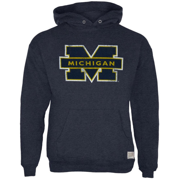 Michigan Wolverines - Blocked Logo Tri-Blend Adult Pullover Hoodie
