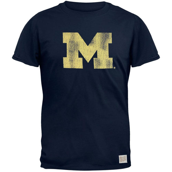 Michigan Wolverines - Distressed M Vintage Adult Soft T-Shirt