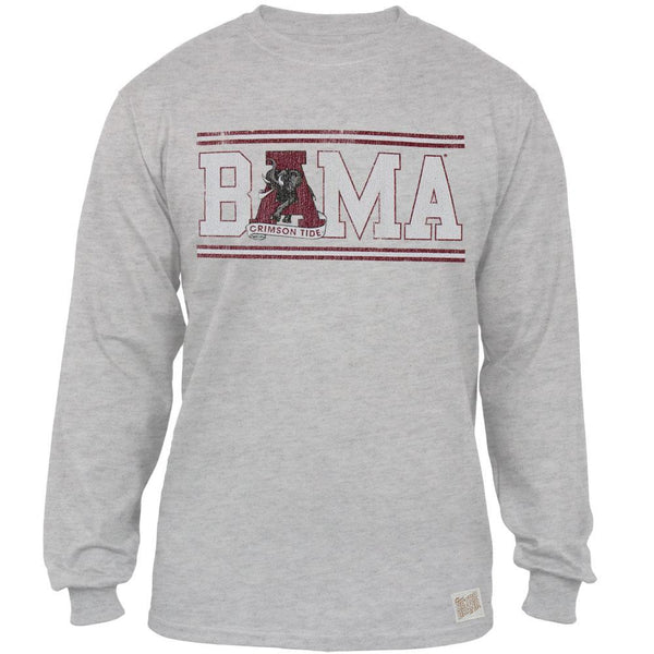 Alabama Crimson Tide - Bama Block Logo Tri-Blend Adult Long Sleeve T-Shirt