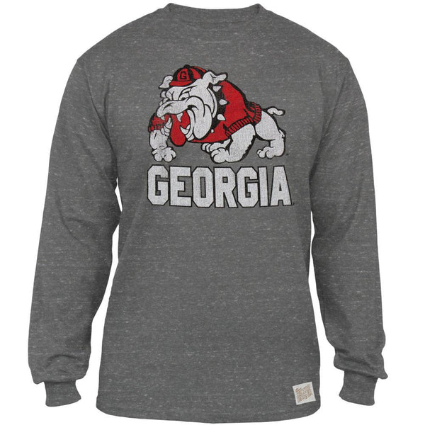 Georgia Bulldogs - Cartoon Dog Tri-Blend Adult Long Sleeve T-Shirt