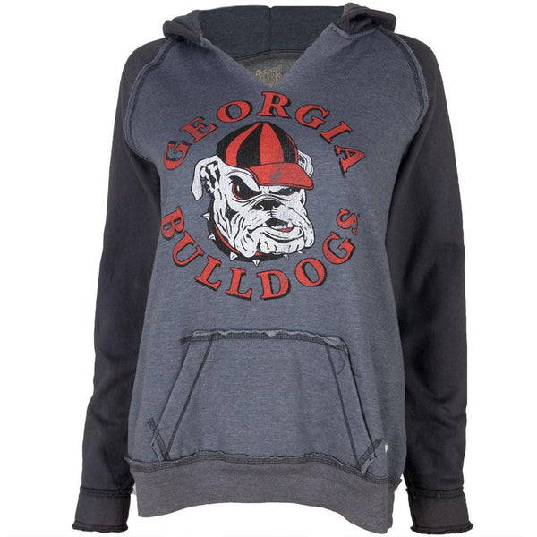 Georgia Bulldogs - Circle Dog Logo Juniors Relaxed Slit-Neck Hoodie