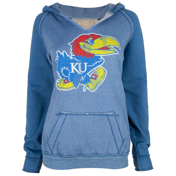 Kansas Jayhawks - Giant Bird Logo Juniors Relaxed Slit-Neck Hoodie