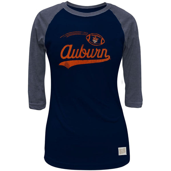 Auburn Tigers - Flying Football Logo Juniors 3/4 Sleeve Raglan T-Shirt