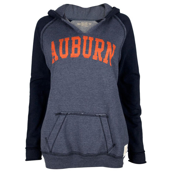 Auburn Tigers - Distressed Name Juniors Relaxed Slit-Neck Hoodie