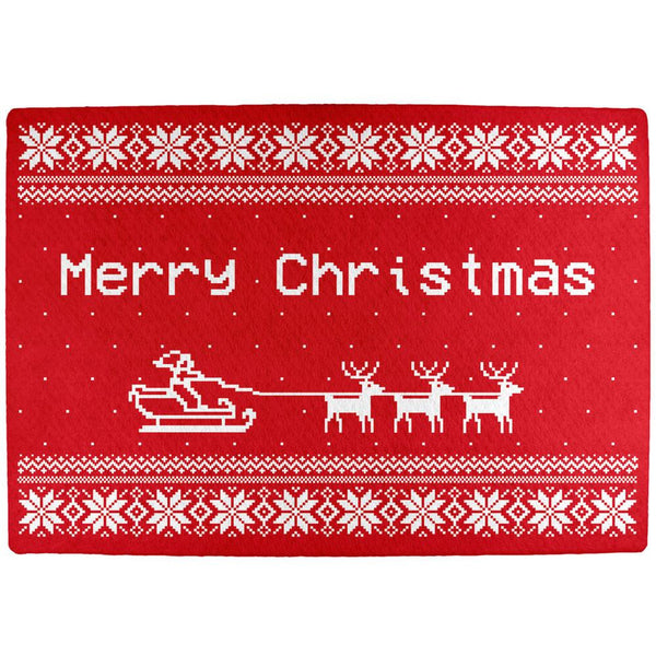 Santa Sleigh Ugly Christmas Sweater All Over Indoor Mat