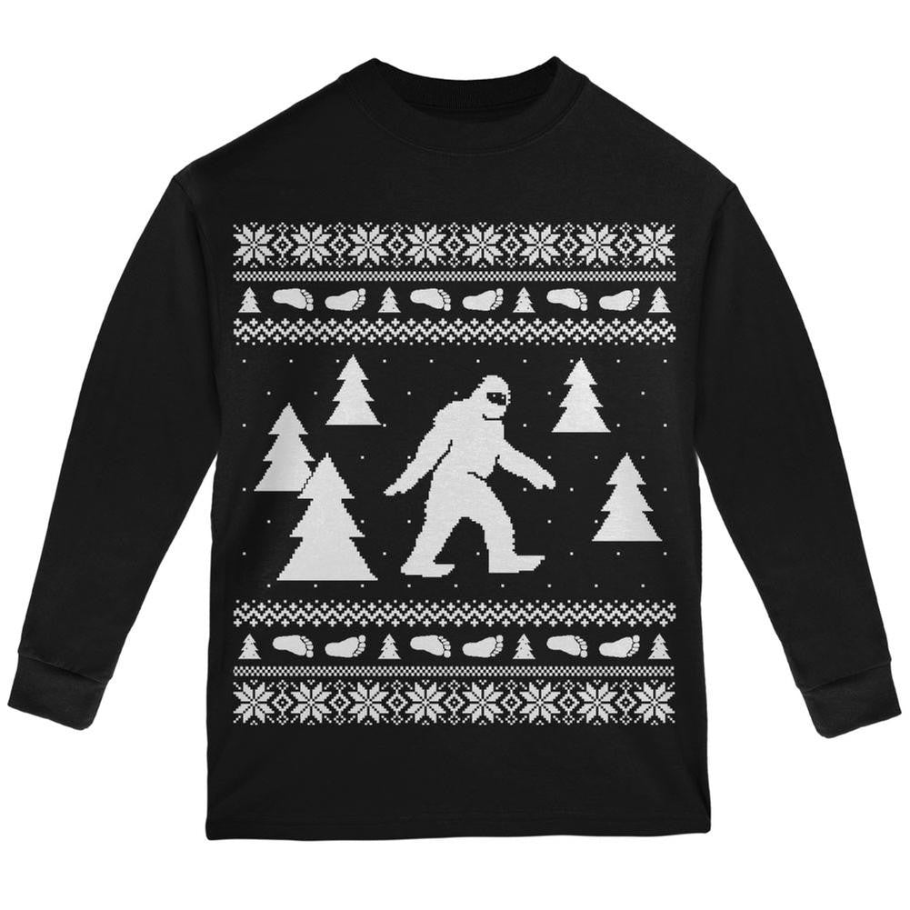 sasquatch ugly christmas sweater black youth long sleeve t shirt - Black Ugly Christmas Sweater