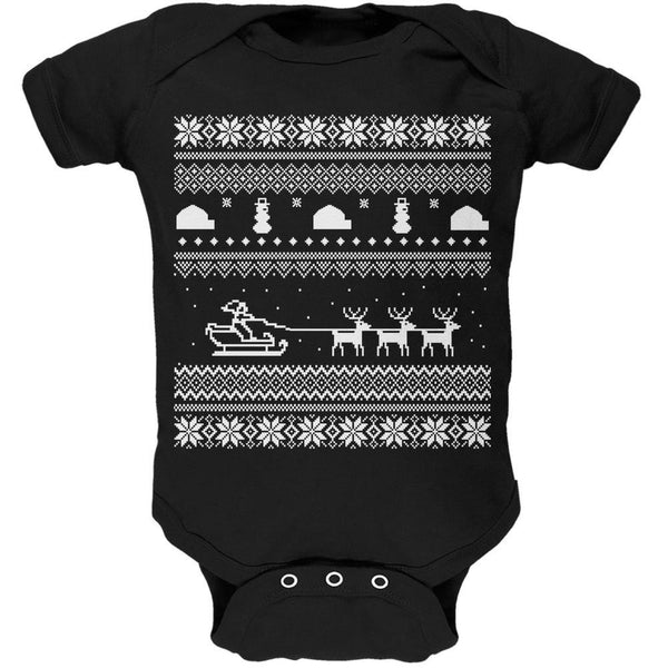 Santa Sleigh Ugly Christmas Sweater Black Soft Baby One Piece