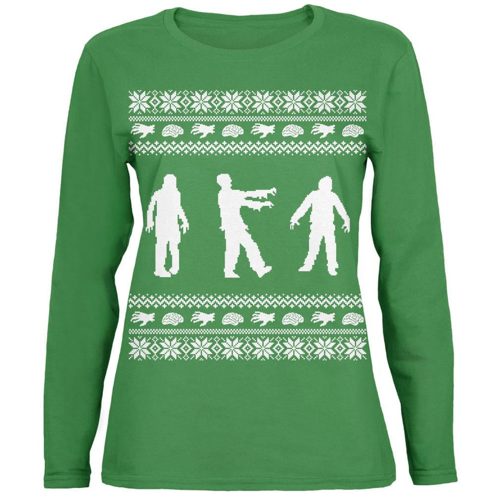 Zombie Ugly Christmas Sweater Green Womens Long Sleeve T-Shirt ...