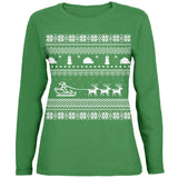 Santa Sleigh Ugly Christmas Sweater Black Womens Long Sleeve T-Shirt