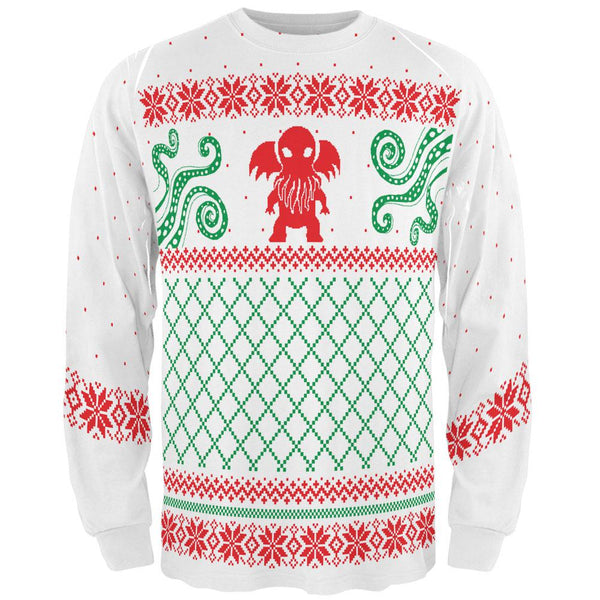 Cthulhu Lovecraft Dimensions Ugly Christmas Sweater All Over Adult Long Sleeve T-Shirt