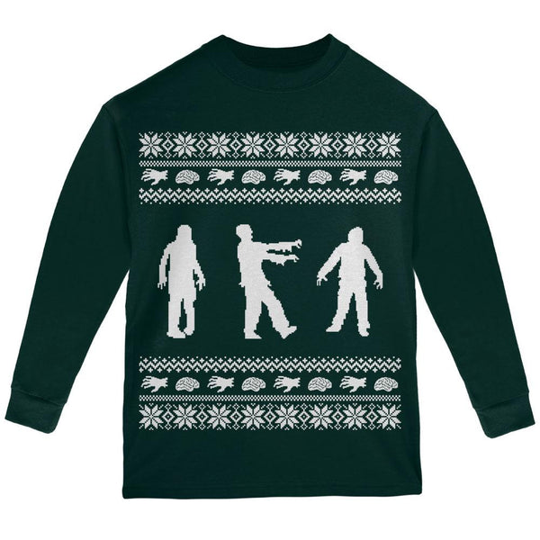 Zombie Ugly Christmas Sweater Forest Youth Long Sleeve T-Shirt