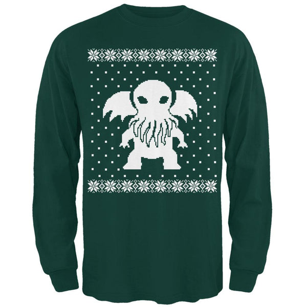 Big Cthulhu Ugly Christmas Sweater Forest Adult Long Sleeve T-Shirt