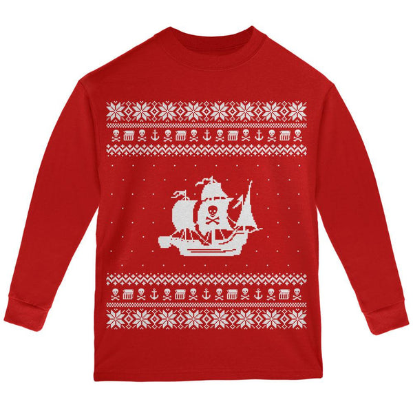 Pirate Ship Ugly XMAS Sweater Red Youth Long Sleeve T-Shirt
