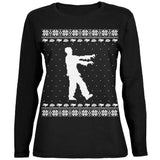 Big Zombie Ugly XMAS Sweater Black Womens Long Sleeve T-Shirt