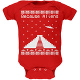 Because Aliens Pyramid Ugly XMAS Sweater Black Soft Baby One Piece
