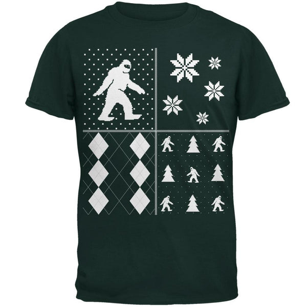 Sasquatch Festive Blocks Ugly XMAS Sweater Forest Adult T-Shirt