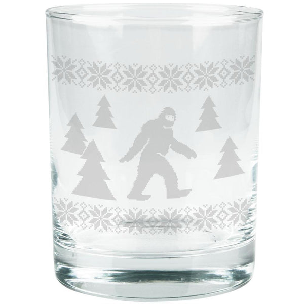 Sasquatch Ugly Christmas Sweater Etched Glass Tumbler