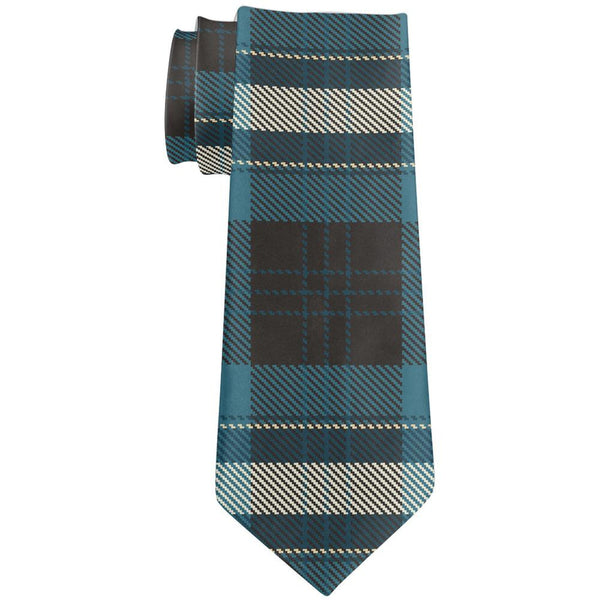 Blue Plaid All Over Neck Tie