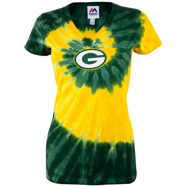 Green Bay Packers - Logo Spiral Juniors V-Neck T-Shirt