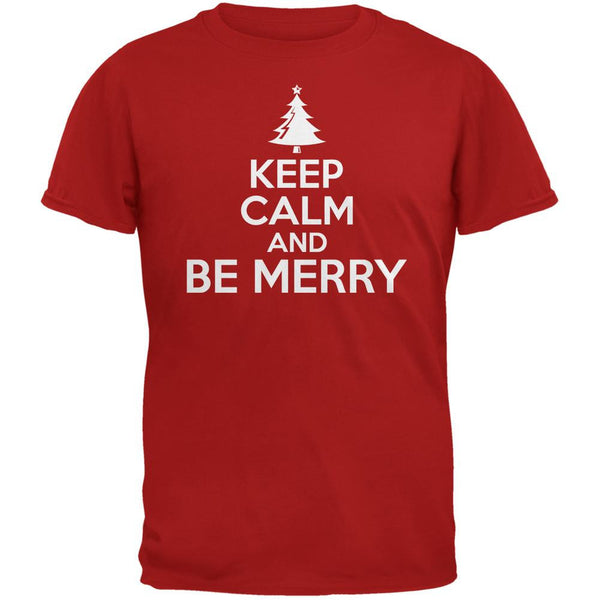 Christmas Keep Calm And Be Merry Red Adult T-Shirt