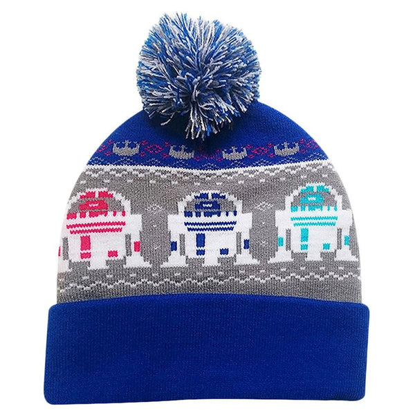 Star Wars - R2 Repeat Holiday Pattern Pom Pom Knit Hat
