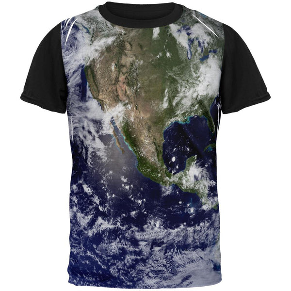 Solar System Planet Earth Adult Black Back T-Shirt