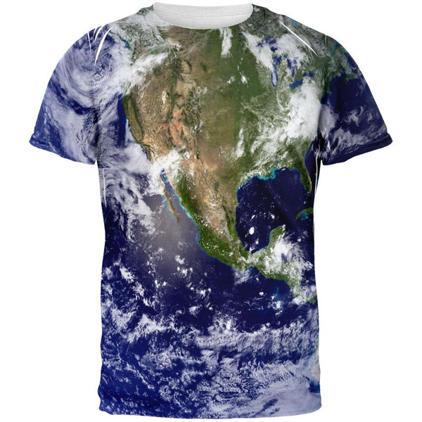 Solar System Planet Earth All Over Adult T-Shirt