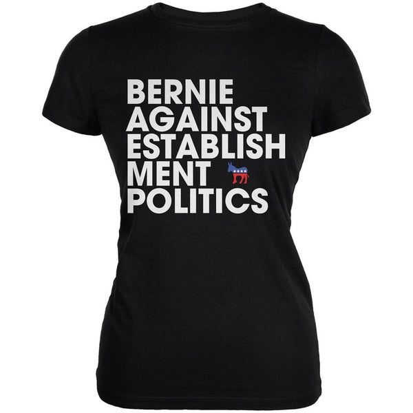 Election 2016 - Bernie Against Politics Black Juniors Soft T-Shirt