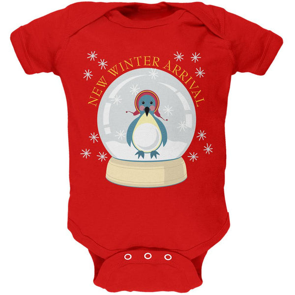 Christmas Baby Snow Globe Red Soft Christmas Baby One Piece