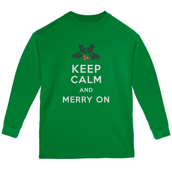 Christmas Keep Calm & Merry On Green Youth Long Sleeve T-Shirt