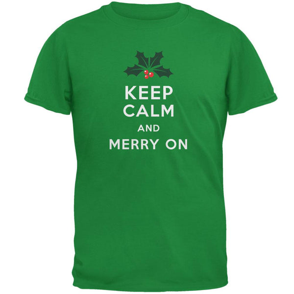 Christmas Keep Calm & Merry On Irish Green Adult T-Shirt