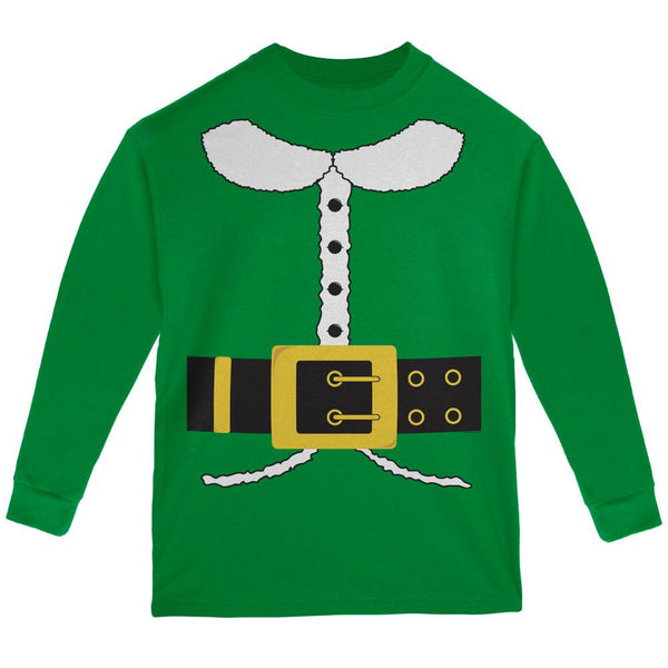 Holiday Elf Costume Green Youth Long Sleeve T-Shirt