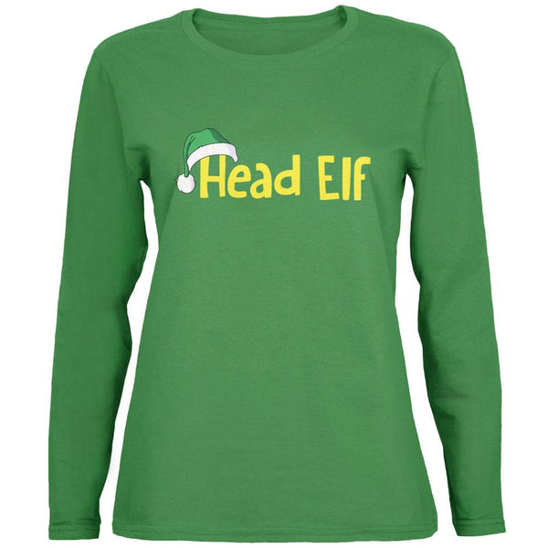 Christmas Head Elf Green Womens Long Sleeve T-Shirt
