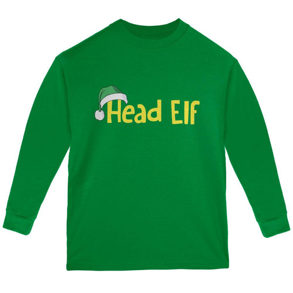 Christmas Head Elf Green Youth Long Sleeve T-Shirt